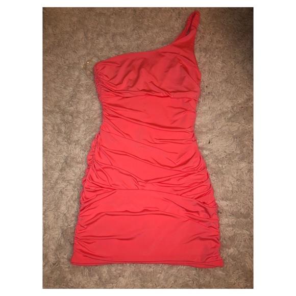 Fashion Nova Dresses & Skirts - Miami nights hot orange rouched club bodycon dress